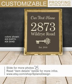 Address sign vintage key print Gift for New by SplanoDesign