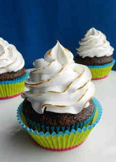 Chocolate Graham Cracker Cupcakes with Toasted Marshmallow Frosting