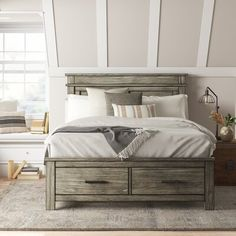 null Rustic made refined. The glacier point bedroom set is crafted from solid reclaimed pine. Each piece is carefully designed with function and style. This collection embraces a minimalist approach and the perfect shade of sophisticated grays. Functionality is a highlight with ample storage in the solid drawer boxes constructed with ball bearing drawer glides. The nightstands have been designed with the modern convenience of USB charging ports with storage or non-storage bed frames, the…