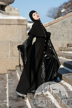 Custom fit Long Wool Gothic Coat Blackbird With Hood by armstreet, $521.00