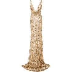 Embellished V Neck Gown   Moda Operandi (€9.048) ❤ liked on Polyvore featuring dresses, gowns, sequin gown, deep v neck gown, white evening gowns, white beaded dress and white ball gowns