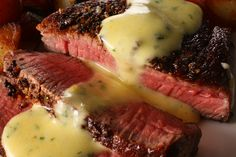 Pan-Seared Rib-Eye Steak with Béarnaise Sauce