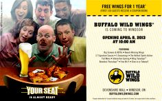 @Buffalo Wild Wings is #opening @DevonshireMall on April 8th at 10am! FREE Wings for 1 year* (1st 100 guests receive a coupon book)   *See coupon book for restrictions.  www.facebook.com/buffalowildwingscanada
