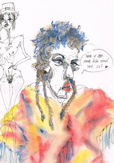 """""""have u seen some dick round here, sir?"""" by Marika Reis 08.10.2014, DINA4, Ink and watercolour, (sold)"""