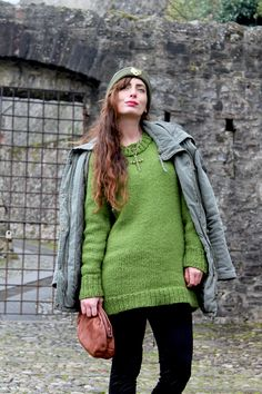 THE FASHIONAMY by Amanda Fashion blogger outfit, made in italy street wear : #ricalyce - Powerful tiger beanie  #green #jewels #beanie #knit #knirwear #sweater #military #fashion #style #necklace #streetstyle #fashion #outfit #fashionblog #cool #military #parka #accessories #winter #olivegreen #shoes #clutch #vintage #tiger #jewels