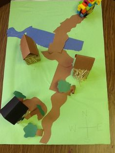 Fun For First: maps, I like beginning with me on the map and then using the Three Little Pigs story to make a map.