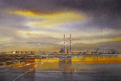 Looking towards the Dublin mountains, the iconic pigeon house breaks the Dublin skyline and reflects across the low tide on the strand. Dublin Bay, Skyline Painting, Paris Skyline, Wall Art, Travel, Paintings, Viajes, Paint, Painting Art