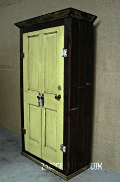 Large Storage Armoire / Wardrobe made from by ZacoCreations (like the idea of cutting an old door in half for 2 front doors)