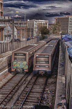 Train Pireas, Athens, Greece