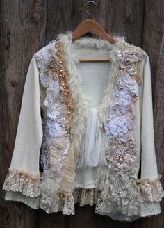 White magic--artful ornate  bohemian cardi , with antique laces, hand embroidery chiffon silk, textile art, bohemian