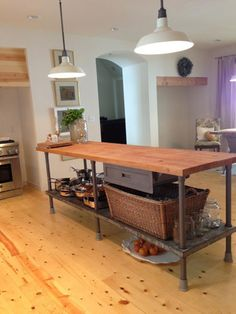 Kitchen Island Butcher Block kitchen island, industrial butcher block style, reclaimed wood and