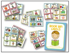 Free book bin labels (lots of other cute freebies on this site)  http://ayearofmanyfirsts.blogspot.com/search/label/freebies