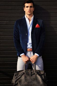 A nice color combination.  #style #fashion #menswear #jacket #bag #blazer
