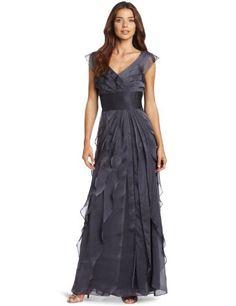 Adrianna Papell Women's Chiffon Tiered Gown Smoke 8P [Apparel] « Clothing Impulse