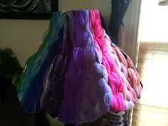 Shabby Chic Chicken Wire Lampshade w/Antique/Vintage Sheer Scarves Woven in Ombré (Unlit) Side A