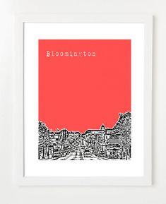 Bloomington Indiana Poster - City State Skyline Art Print - Indiana University - 8x10 - VERSION 1