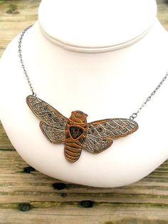 Metallic Silver and Gold Cicada Necklace