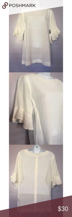{Sharagano} Flounce Sleeve Top Flirty & fun! No size tag but this is a size Medium. 65% polyester, 35% rayon. Sharagano Tops