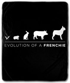 Evolution Of A Frenchie on Black Fleece Blanket