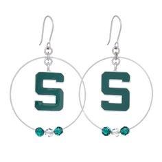 Michigan State University Block S Hoop Earrings