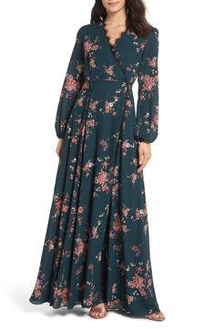 Women's Wayf The Violet Floral Print Wrap Gown, Size Medium - Blue Floral Print Gowns, Printed Gowns, Floral Maxi Dress, Maxi Gowns, Chiffon Maxi Dress, Winter Bridesmaid Dresses, Summer Dresses, Boho Bridesmaids, Hijab Stile