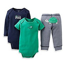 image of Carter's® 3-Piece Turtle Pant Set in Navy