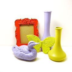 spring decor  //  upcycled milk glass vases, picture frame, butterfly, and mallard by nashpop, $32.00