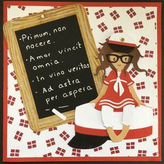 Pia Jensen kort- Gorjuss Girl - Student In Vino Veritas, Die Cut Cards, Punch Art, Cute Dolls, Amigurumi Doll, Projects To Try, Student, Christmas Ornaments, Holiday Decor