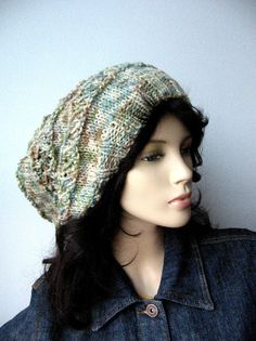 Hand Knit Hat Multicolor Green/Beige Lace Striped by KnitsByNat ♡♡
