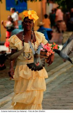 Traditional dress of a local woman Havana, Cuba. Bright, frilly and festive, year round. We Are The World, People Around The World, Cuban People, Costumes Around The World, Havana Nights, Mode Boho, Cuba Travel, African Diaspora, Folk Costume