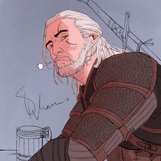 Geralt in a tavern by mstrychowska.deviantart.com on @DeviantArt