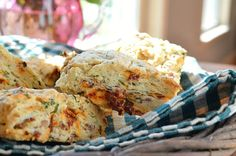 BLT Scones - bacon, basil, and sun-dried tomatoes in a flaky, warm scone