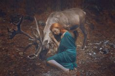 What you're about to see is not Photoshop – Moscow-based Russian photographer Katerina Plotnikova created these stunning images with the help of real live animals! / red head / girl / elk / deer/ autumn