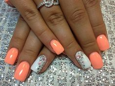 Sucha beautiful pairing of the color with the white.... love love love wish I knew what brand and color of the orange/peach polish :-( wah! X3 Day 121: Summer Accent Nail Art