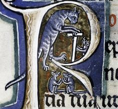 Cats in Art and Illustration: old cat and playful mice psalter, Canterbury ca.