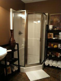 Our new basement corner shower