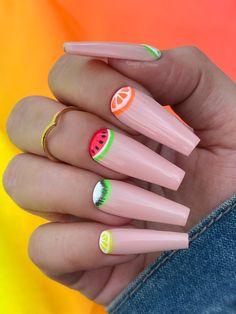 Blue Stiletto Nails, Neon Acrylic Nails, Coffin Nails Matte, Fruit Nail Designs, Colorful Nail Designs, Glow Nails, Aycrlic Nails, Cute Spring Nails, Cute Nails
