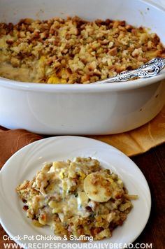 Crock-Pot Chicken & Stuffing Recipe - Thanksgiving in one pot! Creamy Comfort!! http://recipesforourdailybread.com/2013/09/24/best-crock-pot-chicken-stuffing/ #chickendumplings #crock-pot #autumn recipes #fall recipes #chicken #main dish