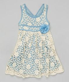 Loving this Blue & White Chambray Lace Dress - Girls on #zulily! #zulilyfinds