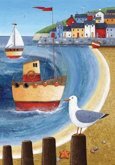 Nautical themed painting of a harbor town with boats off shore. Seagull Lookout Wall Art by Peter Adderley from Great BIG Canvas. Art And Illustration, Art Plage, Images D'art, Art Fantaisiste, Seaside Art, Art Populaire, Sea Art, Naive Art, Whimsical Art