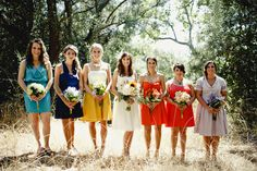 I like the short wedding dress, and unmatched bridesmaid dresses.