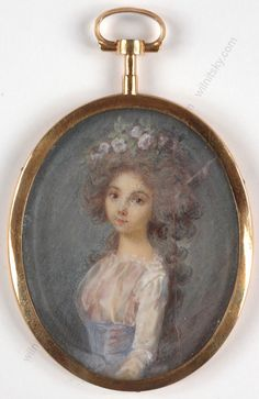 """""""Portrait of a young lady"""", French miniature, 1790s"""