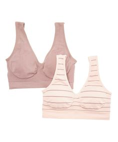 ac237fdddcdf9 Love this Rose Buff  amp  Blush Stone Stripe Seamless Comfort Wireless Bra  Set by Marilyn