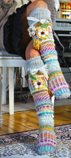 Free Knitting Pattern For Knee Socks : Ankortit Knit and crochet Pinterest Over the, Sock ...