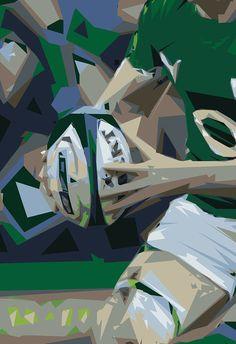 Irish Rugby Poster Irish Rugby Hero A2 Giclee by MartyMcColgan
