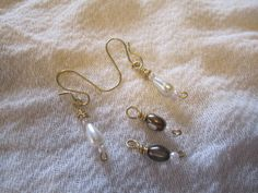 """SAVE 10% use coupon code PIN10 Brass 2 piece charm #earrings, with copper colored glass oval bead and white teardrop glass pearl beads, approx. 1"""".  For faster shipping message me for pricing!  http:/... #jewelry #metal"""