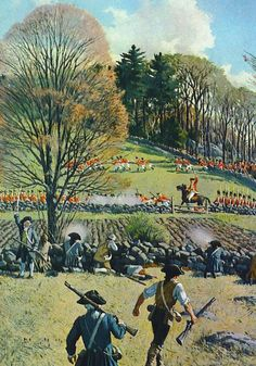 The fighting around Foot Of the Rocks in modern Arlington (then called Menotomy) as Brig. Gen Hugh Earl Percy leads the combined British forces (Lt. Col. Francis Smith's corps of light infantry and Grenadier companies and Percy's own 1st Brigade) back to Boston following the actions at Lexington and Concord. In the background light infantry can be seen screening the right side of the column. About 3:45 pm, April 19, 1775. By A. Lasall Ripley.
