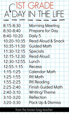 1st Grade Schedule: A Day in the Life - A Great blog post that walks you through a 1st grade schedule! (The Brown Bag Teacher)