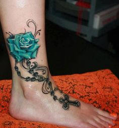 Beauty and Popular Foot Tattoos For Women foot tattoos for women; foot tattoos for girls; foot tattoos for women; foot tattoos for girls; foot tattoos for moms; foot tattoos for best friends Tribal Rose Tattoos, Rose Tattoos For Men, Ankle Tattoos For Women, Leg Tattoos, Girl Tattoos, Tatoos, Faith Tattoos, Blue Rose Tattoos, Tattoo Women