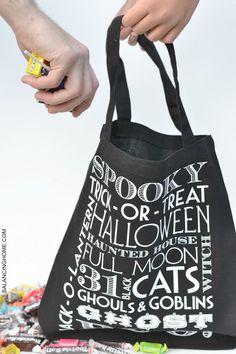 DIY trick or treat tote bag. Perfect Halloween craft idea.